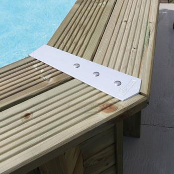Kit piscina della  piscina in legno fuori terra da esterno OCEAN 610x400 Liner azzurro: Scala interna in acciaio