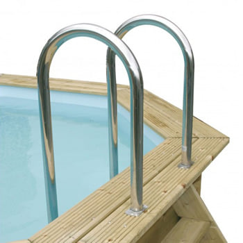 Kit piscina della  piscina in legno fuori terra da esterno Ocean 550x355 Liner azzurro: Scala interna in acciaio