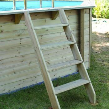 Kit piscina della  piscina in legno fuori terra da esterno Ocean 550x355 Liner azzurro: scala di accesso in legno