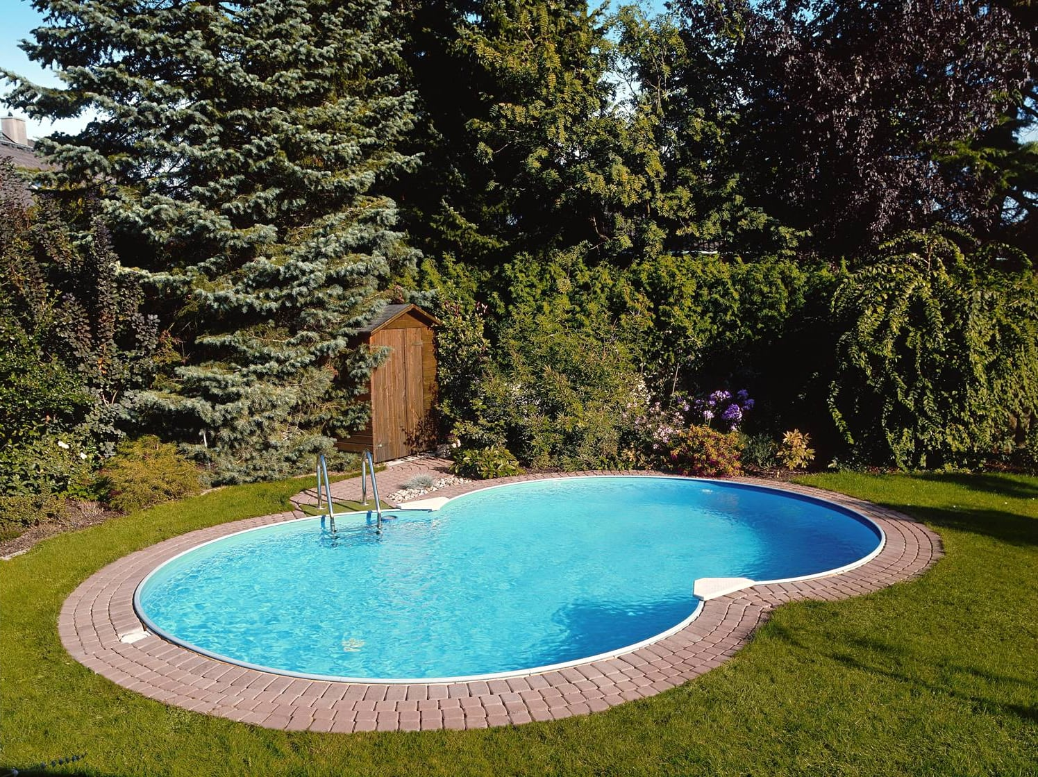 Piscineitalia kit piscina interrata in acciaio skyblue space 150 - Piscine piccole da giardino ...