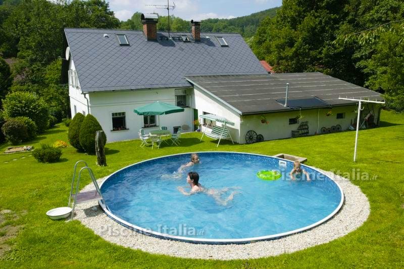 Piscineitalia kit piscina interrata in acciaio skyblue - Piscina acciaio ...