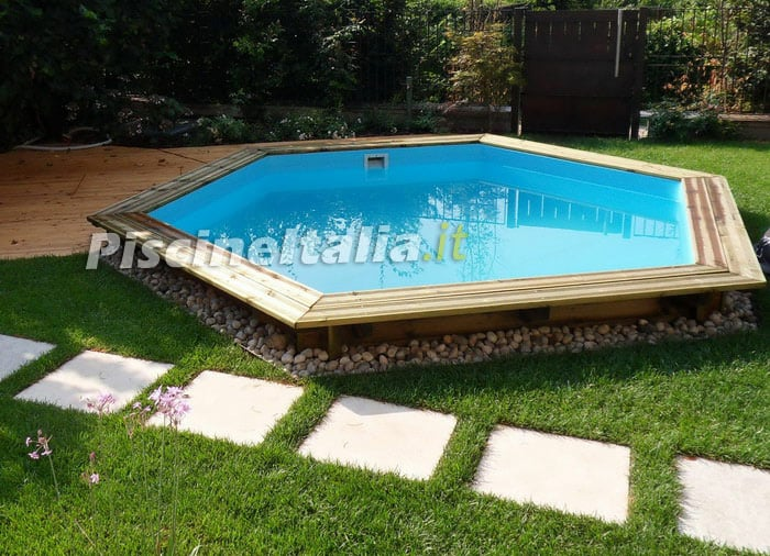Piscina in legno fuori terra jardin 434 piscine italia for Piscina esterna legno