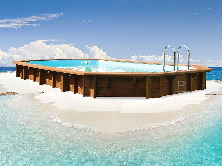 Piscina in legno fuori terra jardin 607 piscine italia - Scala per piscina fuori terra ...