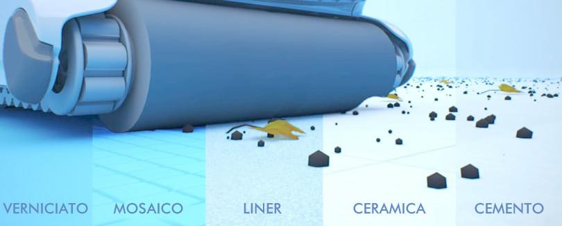 Robot automatico piscina per il fondo FRC 70: spazzole in PVA di serie assicurano una pulizia efficace di tutte le superfici