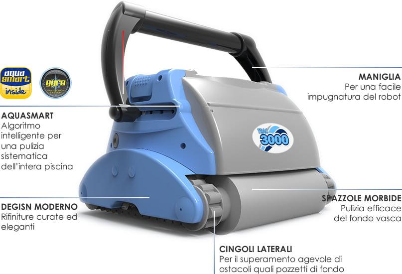 Robot pulitore piscina TRAC 3000 dettagli