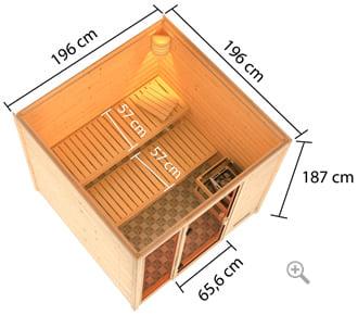 Sauna finlandese da interno Julia: vista in 3D dall'alto