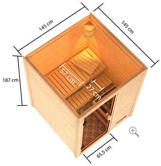 Sauna finlandese da interno Sara senza cornice: misure e dimensioni