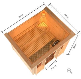 Sauna finlandese da interno Romeo: vista in 3D dall'alto