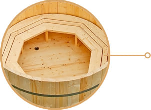 Tinozza di legno a botte da giardino mistel piscine italia for Piscina vetroresina usata