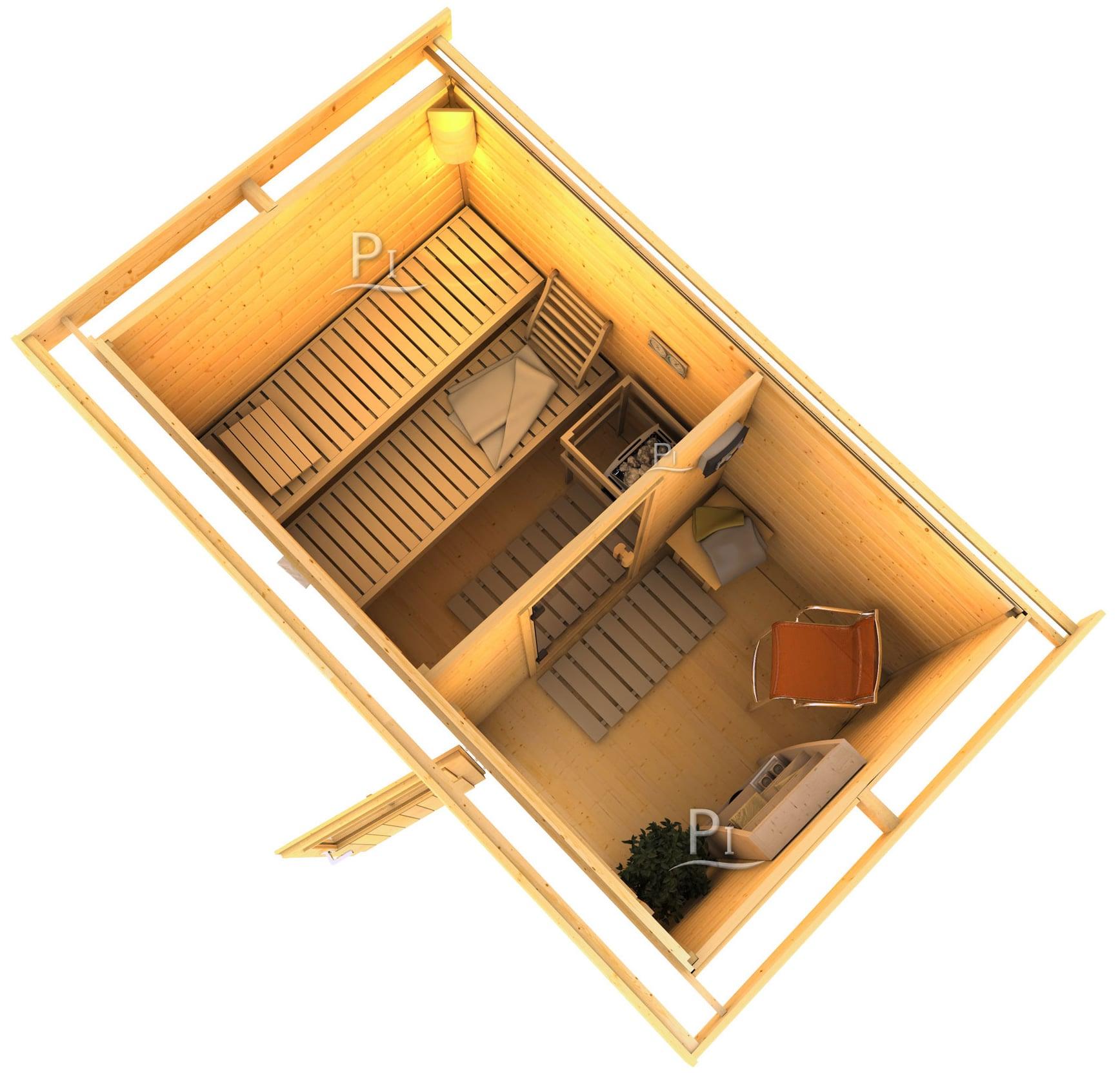 sauna da giardino zen 1. Black Bedroom Furniture Sets. Home Design Ideas