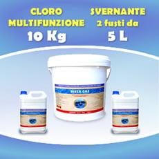 Formato convenienza - Cloro in pastiglie multifunzione 10 kg + 2 Fusti Svernante 5 L cad,