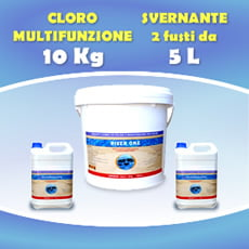 Cloro in pastiglie multifunzione 10 kg + 2 Fusti Svernante 5 L cad,