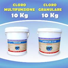 10 Kg cloro granulare + 10 Kg cloro in pastiglie multifunzione