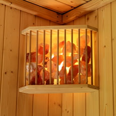 Lampada in legno con cristalli di sale