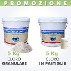 5 Kg di cloro granulare in polvere + 5 Kg di cloro in pastiglie