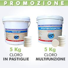 5 Kg di cloro granulare in polvere + 5 Kg di cloro multifunzione in pastiglie da 200 g