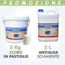 5 Kg Cloro in pastiglie 200 g + 5 L antialga