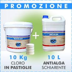 10 Kg Cloro in pastiglie 200 g + 10 L antialga