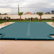 Copertura invernale a fascia filtrante centrale con fascette + tubolari per piscina rettangolare + scala romana - 210 g/mq