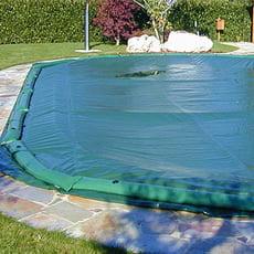 Copertura invernale con fascette senza tubolari per piscina a forma libera - 210 g/mq