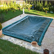Copertura invernale con fascette senza tubolari per piscina rettangolare - 210 g/mq