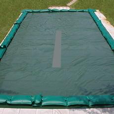 Copertura invernale a fascia filtrante centrale con fascette + tubolari per piscina rettangolare - 210 g/mq