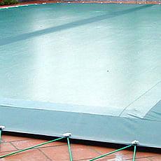 Copertura invernale con fascia filtrante centrale con occhielli e cavo elastico per piscina rettangolare - 400 g/mq