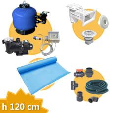 Kit impianto piscina rettangolare h. 120 + Membrana