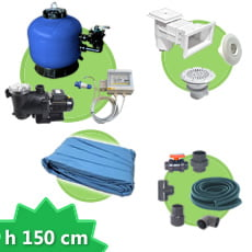 Kit impianto piscina rettangolare h. 150 + Liner