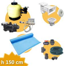 Kit impianto piscina rettangolare h. 150 + Membrana
