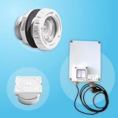 Kit 1 mini proiettore LED bianco con trasformatore