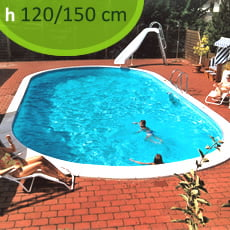 Kit piscina interrata in acciaio SKYBLUE Comfort 1000 - h. 120/150 cm