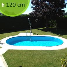 Piscina interrata in kit in acciaio ovale SKYBLUE Comfort 525 - h. 120 cm