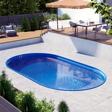 Kit piscina interrata in acciaio ovale SKYBLUE Comfort 600 - h. 150 cm