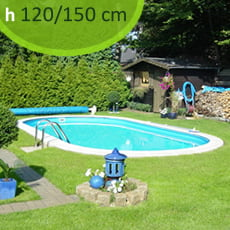 Kit piscina interrata in acciaio SKYBLUE Comfort 800 - h. 120/150 cm
