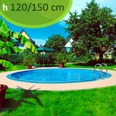 Kit piscina interrata in acciaio SKYBLUE Relax 600 - h. 120/150 cm