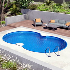 Piscina interrata in kit in acciaio NEWSKYBLUE Space 725 - h. 150 cm