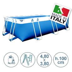 Piscina fuori terra con tubolari LAGUNA BASIC 4,80x3,80 m - h.100 cm