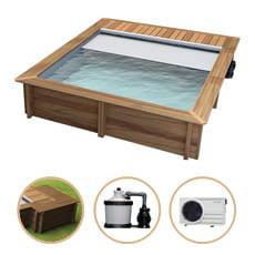 Piscina in legno fuori terra rettangolare URBAN 420x350