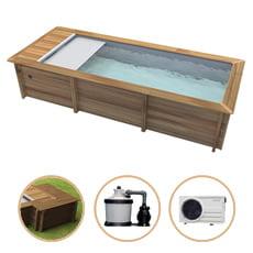 Piscina in legno fuori terra rettangolare URBAN 600x320