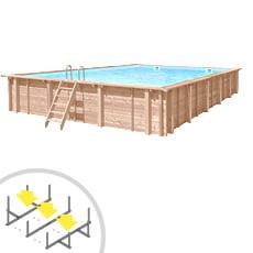 Piscina in legno rettangolare indipendente RIVA CARRE 10x6