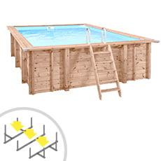 Piscina in legno rettangolare indipendente RIVA CARRE 6x4