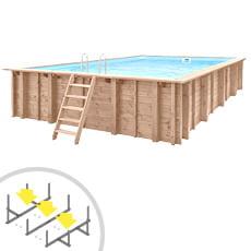 Piscina in legno rettangolare autoportante RIVA CARRE 8x5