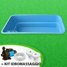 Piscina interrata in vetroresina MANTA + Kit idromassaggio - Colore Celeste