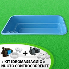 Piscina interrata in vetroresina MANTA + Kit idromassaggio + Kit nuoto controcorrente - Colore Celeste
