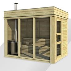 Sauna finlandese da giardino Cubo 3x2 m