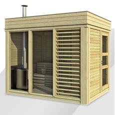 Sauna finlandese da giardino Cubo 3x2 m con spogliatoio