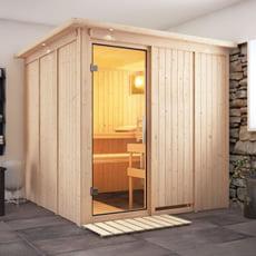 Sauna finlandese Anastasia 68 mm con porta in vetro grafite e cornice a led