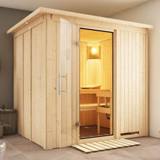 Sauna finlandese Dina 68 mm con porta in vetro grafite e cornice a led