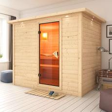 Sauna finlandese Fiordaliso in massello 40 mm con porta in vetro bronzato e cornice a led